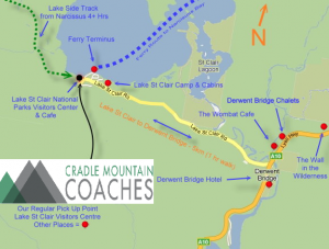 Lake St Clair Map Ferry Overland Track
